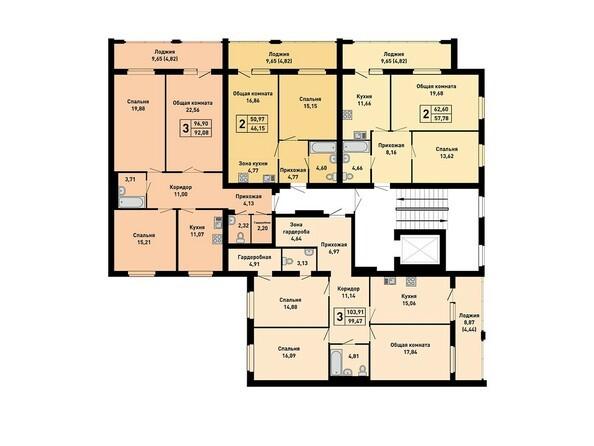 Планировки Жилой комплекс ДРУЖНЫЙ-3, дом 15 - Подъезд 2. Планировка типового этажа