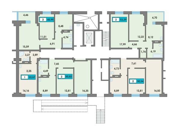 Планировки Жилой комплекс Сосновоборск, 7 мкр, 2 этап - Подъезд 6. Планировка 1 этажа