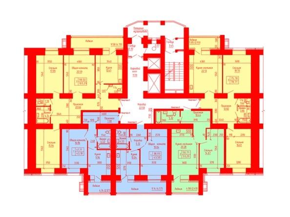 Планировки Жилой комплекс ЛАЗУРНЫЙ-2, дом 3 - Планировка 2-7 этажей, 2 б/с