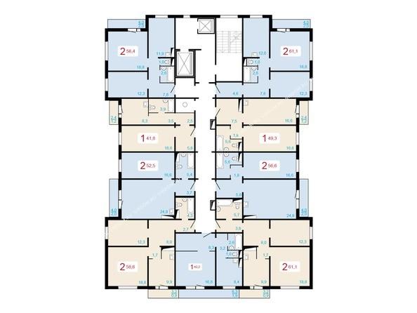 Планировки Жилой комплекс ЛЕСНОЙ МАССИВ, дом 1, стр 2 - Планировка типового этажа