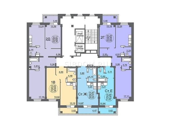 Планировки Жилой комплекс МАТРЁШКИ, дом 6 - Планировка 2-15 этажей, 1 б/с