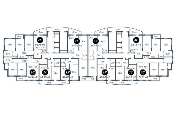 Планировки Жилой комплекс ПРОСВЕЩЕНИЕ - Планировка типового этажа