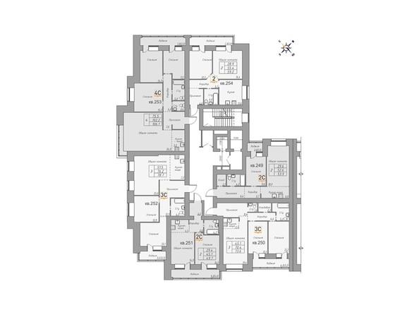 Планировки Жилой комплекс ДВЕ ЭПОХИ, корпус 1 - Планировка 3 этажа, 3 б/с