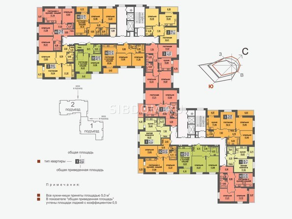 Планировки Жилой комплекс НИКОЛЬСКИЙ, дом 5 - Планировка 9-15 этажей