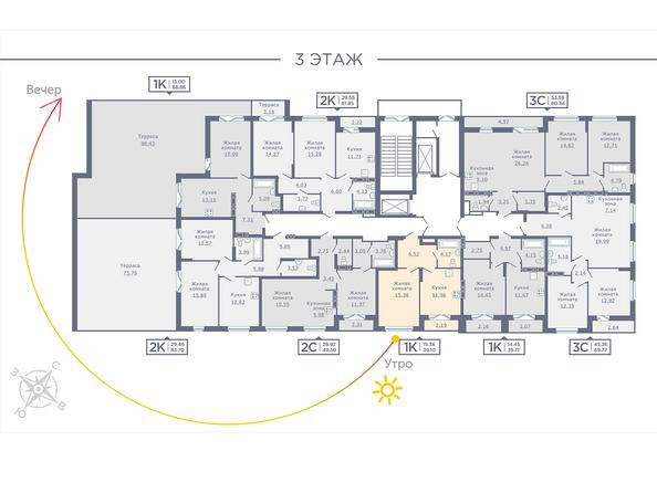 Планировки Жилой комплекс ДОМ НА САДОВОЙ - Планировка 3 этажа