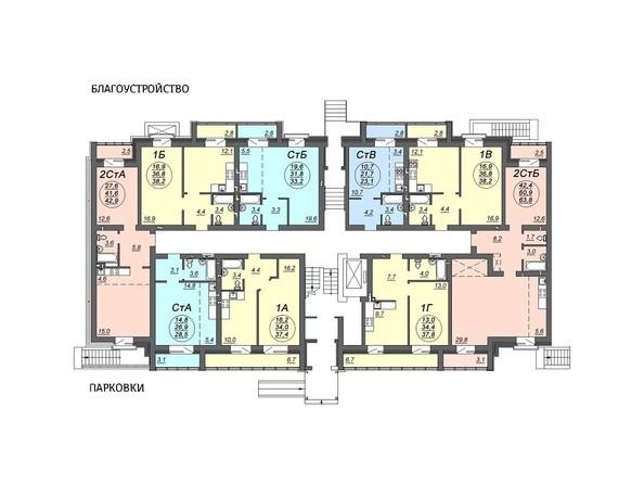 Планировки Жилой комплекс СВОБОДА, дом 7 - Подъезд 1. Планировка 1 этажа