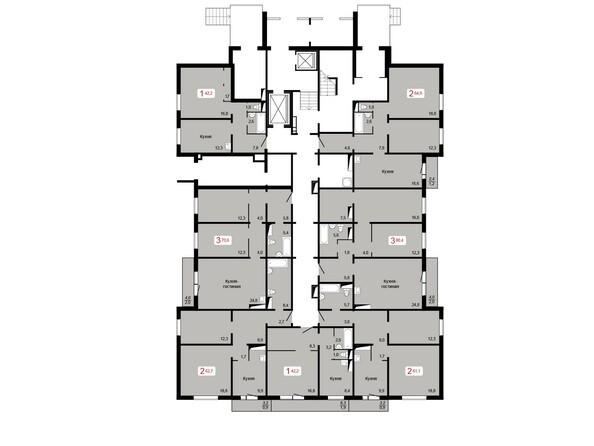 Планировки КУРЧАТОВА, дом 8, стр 2 - Планировка 1 этажа