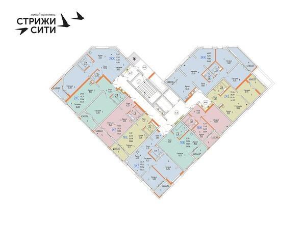 Планировки Жилой комплекс СТРИЖИ СИТИ, 1 оч - Планировка 4-6 этажей