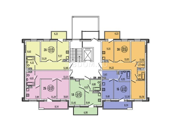 Планировки Жилой комплекс ЭВОЛЮЦИЯ, 2 оч, б/с 4-1,2,3,4,5 - Блок-секция 4-5. Планировка типового этажа