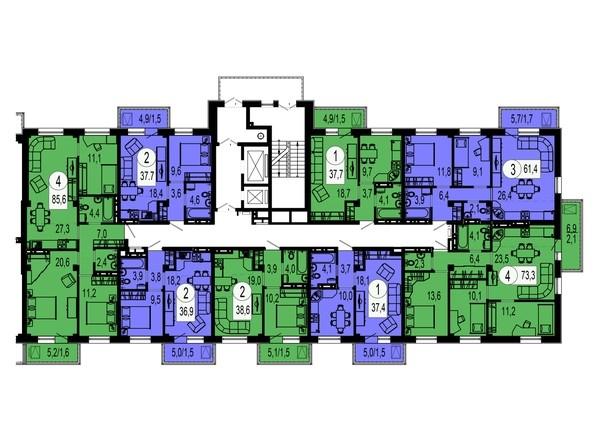 Планировки Жилой комплекс ТИХИЕ ЗОРИ, дом 4 (Красстрой) - Секция 4. Типовая планировка этажа.
